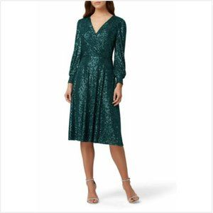 Tahari ASL  Stretch Wrap Dress Sequins Surplice